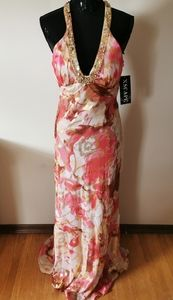 Xscape Strappy Floral Beaded Gown Size 14